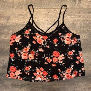 Black Floral Cropped Camisole